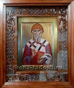 заказать рукописную икону Святитель Спиридон в киоте