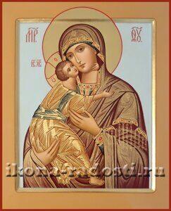 заказатьикону Богородица Владимирская с разделкой одежды твореным золотом