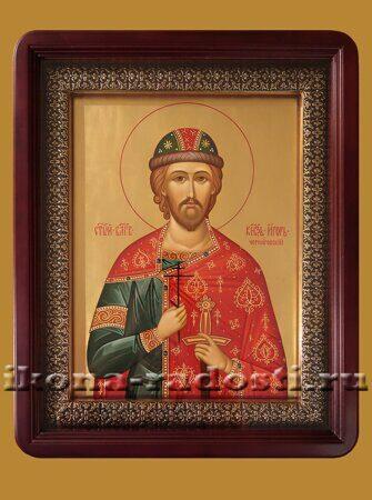 заказать икону князь Игорь Черниговский в киоте с басмой